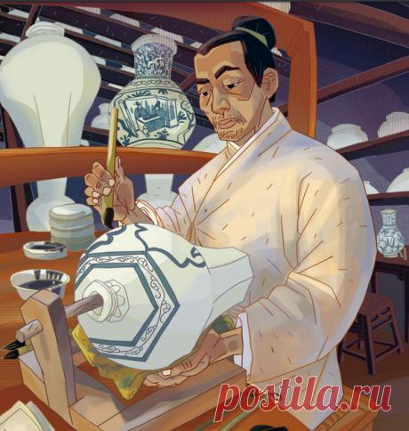 Китайские гончары ставили изделия в огромные печи и обжигали их.