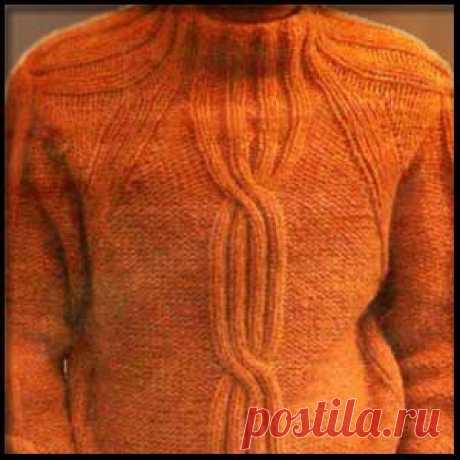 Вязаный спицами пуловер-реглан для мужчины