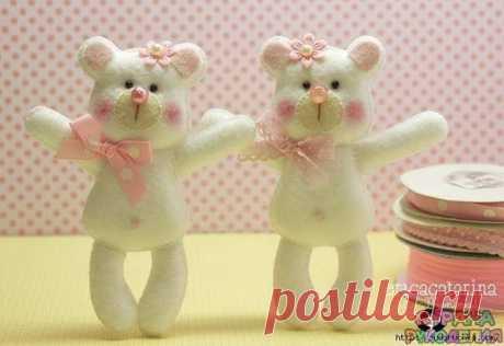 Мишки из фетра - Игрушки - Рукоделие и творчество - Рукоделие