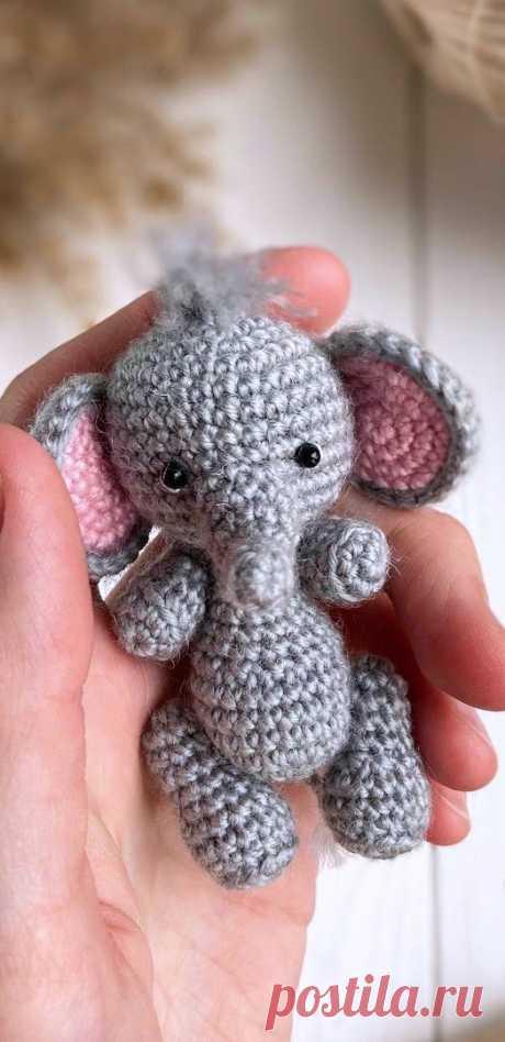 PDF Слонёнок крючком. FREE crochet pattern; Аmigurumi animal patterns. Амигуруми схемы и описания на русском. Вязаные игрушки и поделки своими руками #amimore - слон, слонёнок, маленький слоник, слоненок.