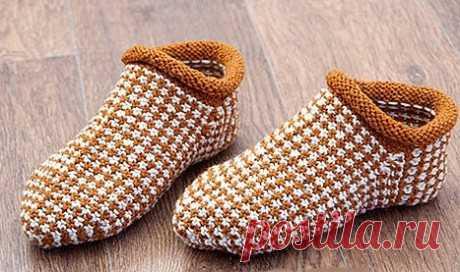 Носки – тапочки связанные спицами ленивым жаккардом, Вязание для женщин