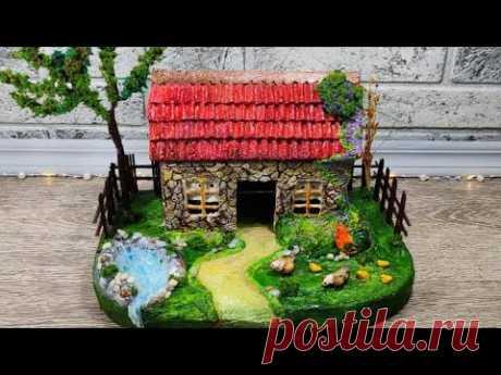 DIY.Домик в деревне своими руками.Поделки из доступных материалов. Мастер-класс.Village craft.