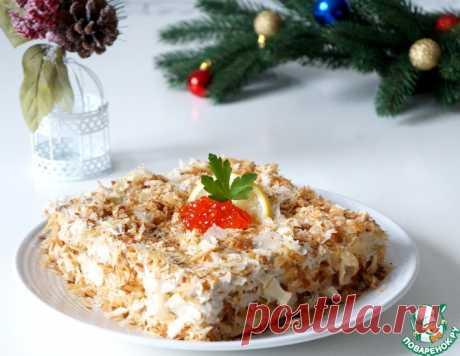 """Закусочный """"Наполеон"""" с печенью трески и икрой – кулинарный рецепт"""