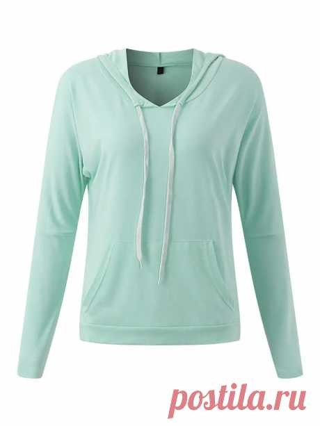 Casual Women Candy Color Long Sleeve Drawstring Hooded T-Shirts - US$16.99