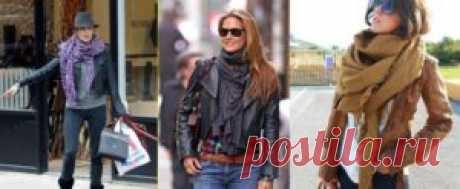 Как носить шарф с курткой: кожаной, джинсовой
