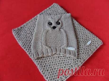 Cap an owl on the child. Knitting by spokes. Part 2 Knitting (Hobby).
