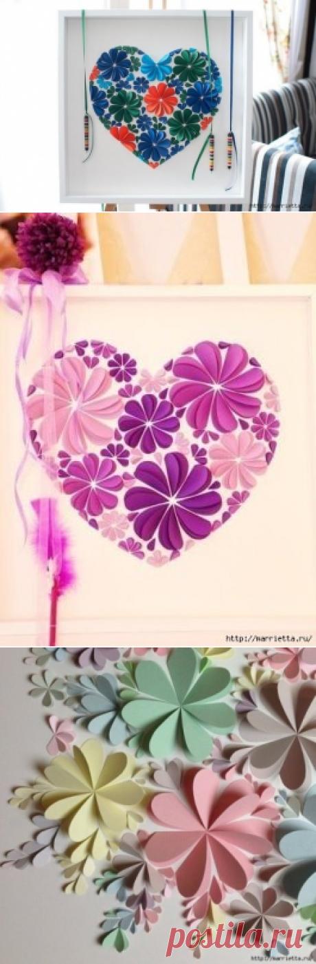 Цветы из сердечек.