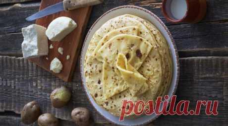 Хычины Эльбрусские (тонкие, балкарские, с картофельно-сырной начинкой), пошаговый рецепт с фото