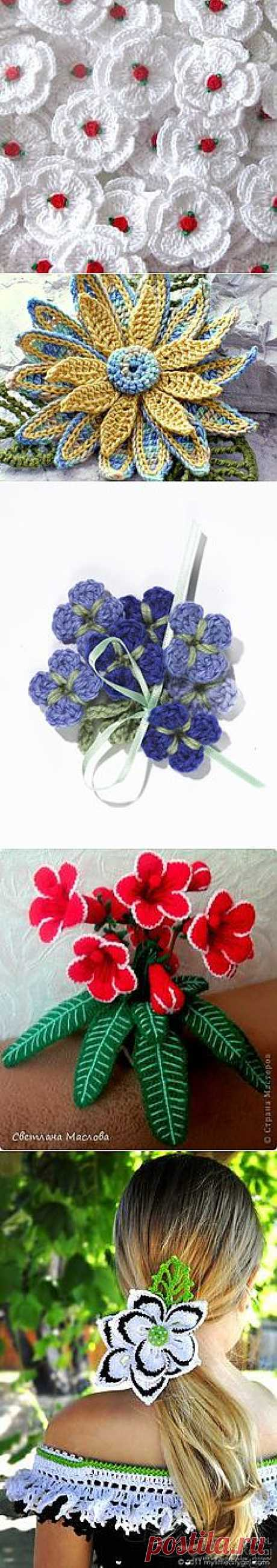 крючком цветы