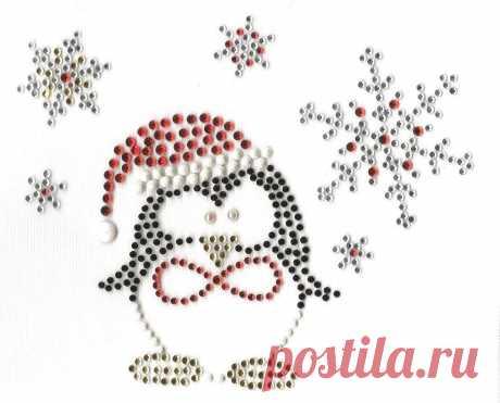 Christmas Penguin Snowflakes Rhinestone Design Bling Hot Fix Iron On Transfer   eBay