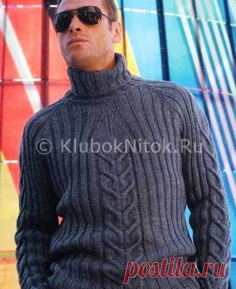 Темно-серый свитер регланом   Вязание мужское   Вязание спицами и крючком. Схемы вязания.