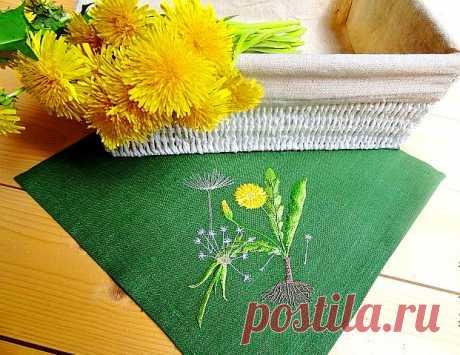 Как вышить одуванчики (разные виды вышивки)
