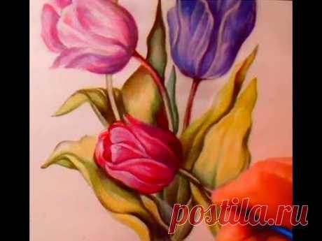 Как нарисовать цветы. Как рисовать акрилом.