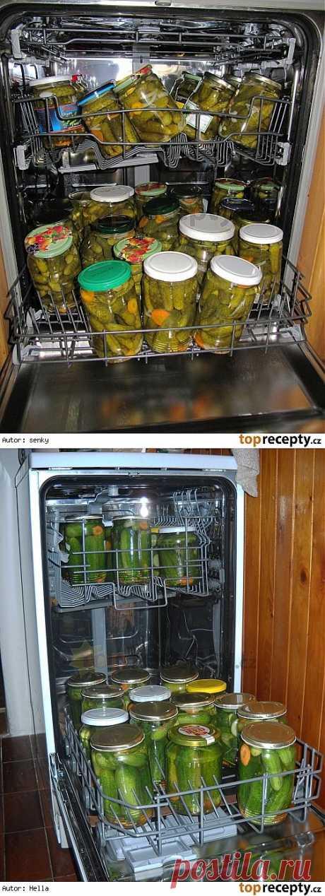 Стерилизация банок в посудомоечной машине..