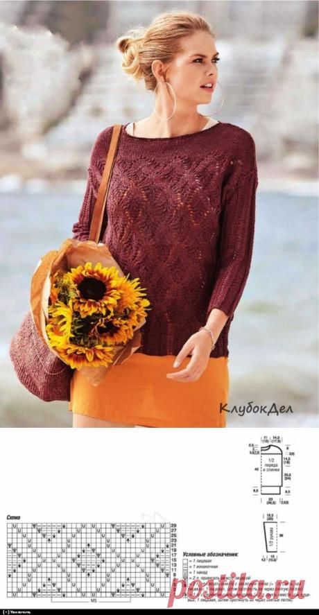 Пуловер с узором из ажурной резинки и ромбов