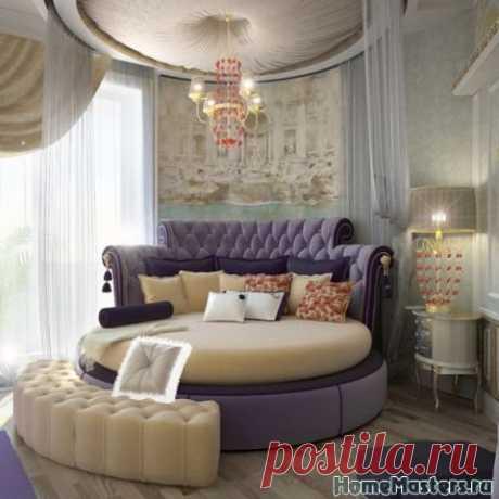 Круглая кровать с фиолетовым оттенком   Дизайн интерьера спальни   Фотогалерея ремонта и дизайна   Школа ремонта. Ремонт своими руками. Советы профессионалов
