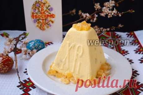 La Pascua tvorozhno-de crema cocida con las frutas confitadas la receta de la foto, como preparar en Webspoon.ru