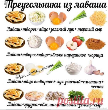 Шпаргалка кулинара, начинки для лаваша