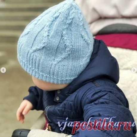 Детская шапка спицами «Baby cusco»
