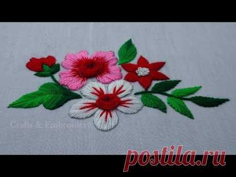 Beautiful Hand Embroidery - Amazing Flower Embroidery Tutorial - Rose Flower Embroidery- Easy Stitch