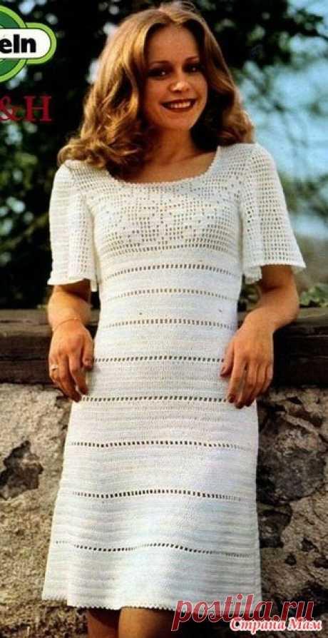 . Ретро-платье с филейной кокеткой. - Все в ажуре... (вязание крючком) - Страна Мам