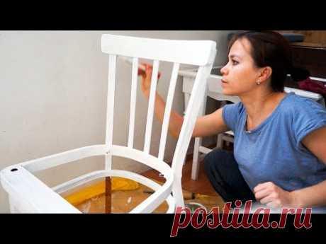 РЕСТАВРАЦИЯ СТАРЫХ СТУЛЬЕВ | Ремонт обивки сиденья | Продолжаю красить мебель в белый цвет!