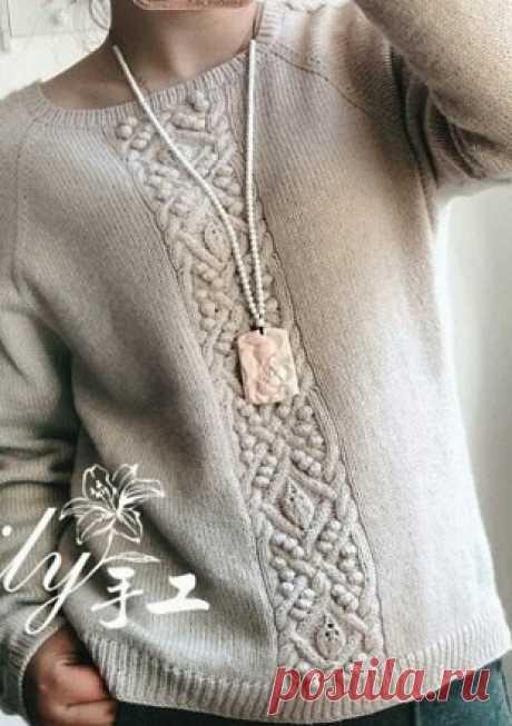 Пуловер-реглан с красивым центральным араном