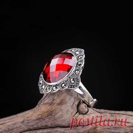 Roter Granat Ring  Edelstein Gesicht Ring  Silber Frauenring | Etsy