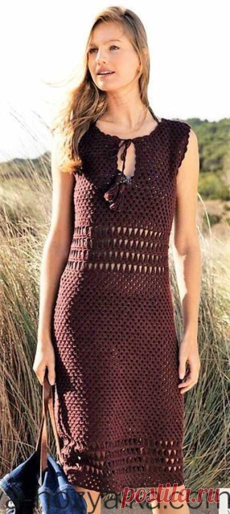Платье в стиле хиппи. Вязаные платья крючком со схемами и описанием