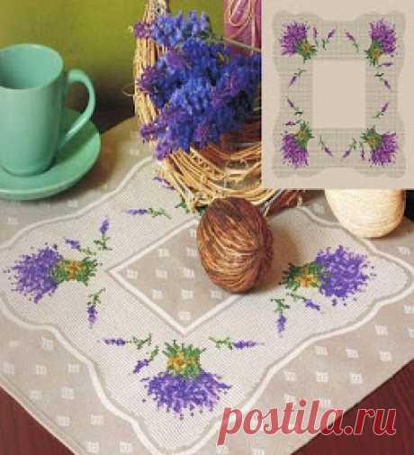 Вышивка и схемы, вышивка Крестом бесплатные: Три салфетки, вышитые крестиком