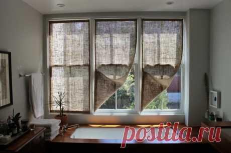 Как сшить простые шторы из мешковины | Своими руками