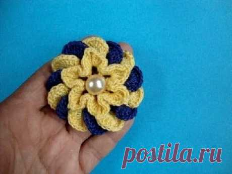 Crochet flower pattern Вязание цветка крючком урок 67