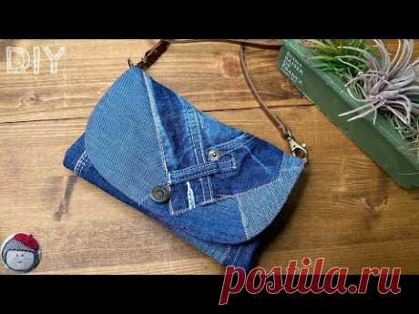 Джинсовая сумка-ремейк, сделанная на бытовой швейной машинке