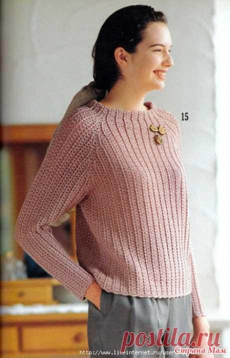 Пуловер реглан крючком Всем привет! Начинаем вязать пуловер крючком-регланом с верху. Здесь был опрос  https://www.stranamam.ru/  Пуловер обнаружила моя подружка пчелкаЖанна, за что ей огромное спасибо