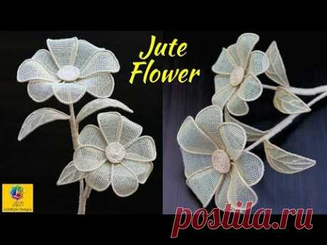 How to Make a burlap Jute Flower | DIY Rope Flower | Jute Craft Decoration Design - YouTube
