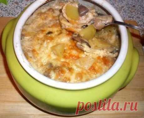 Жаркое из сердечек с грибами в горшочке или очень быстрый вкусный ужин - Простые рецепты Овкусе.ру