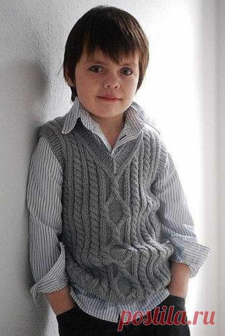Жилетик для мальчика на любой возраст (Вязание спицами) | Журнал Вдохновение Рукодельницы