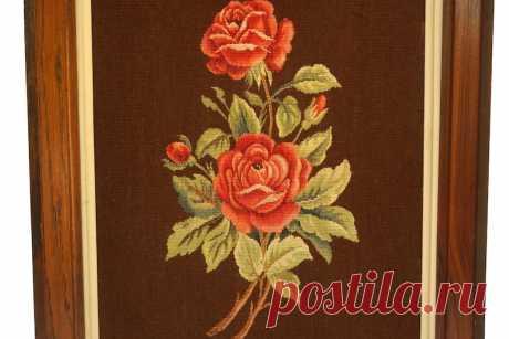 Обуссон французский нидлпойнт гобелен с красной розой   Etsy