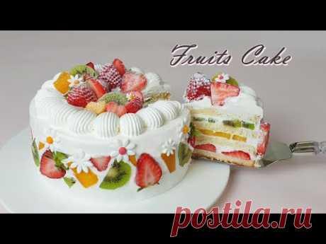 [Eng Sub] 과일 생크림 케이크 만들기 / How to make Fruits Fresh Cream Cake /  Recipe /  Soft Vanilla Sponge Cake