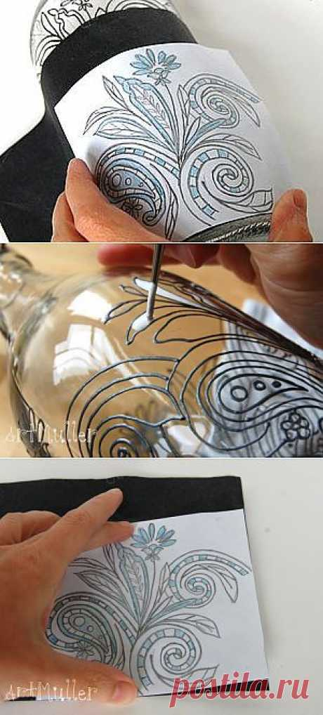 Transferring of drawing on glass - the Fair of Masters - handwork, handmade