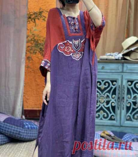 Womens linen long dress linen kaftan Summer dresses retro   Etsy