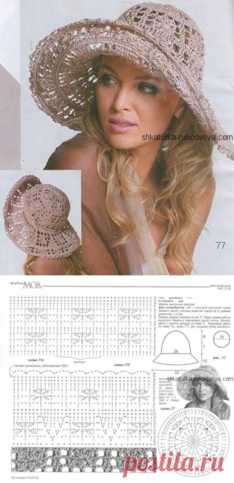 Chapéu de mulher elegante em malha. Chapéu de praia de crochê a céu aberto 2019   Caixão de bordado. Site para costureiras.