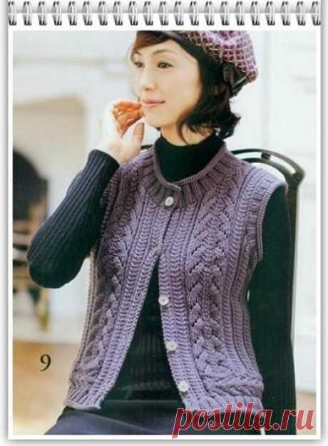 Галкин Дневник: Красивый рельефный узор спицами, для вязания женского жилета (83)