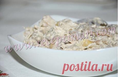 Салат Шерлок. Салат из куриной грудки, грибов и грецких орехов