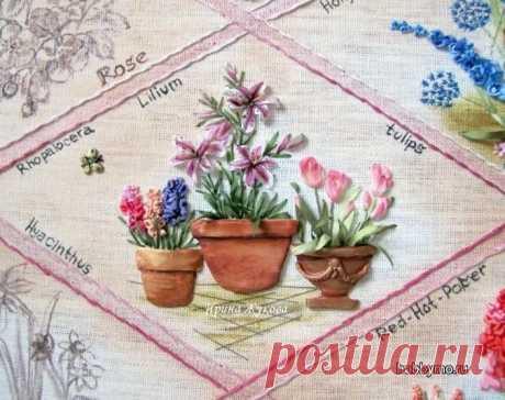 Вышивка лентами: тюльпаны, гиацинты, лилии