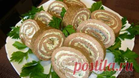 Печёночный рулет Печёночный рулет приятно удивит вас своим неповторимым вкусом и приятным ароматом. Приготовьте его на праздничный стол в качестве закуски или просто побалуйте себя этим лакомством.Ингредиенты:Печень к...