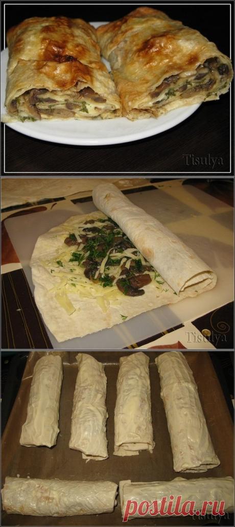 Как приготовить грибной рулет из лаваша  =Ингредиенты: - армянский лаваш - шампиньоны - сыр - зелень