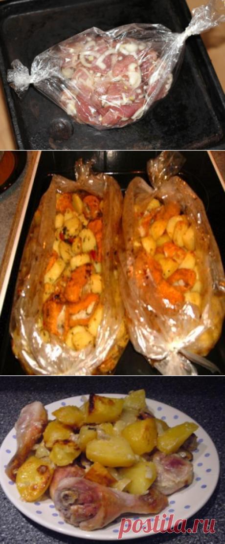 Запекаем в рукаве мясо , рыбу , картошку , шашлык 4 вкусных рецепта