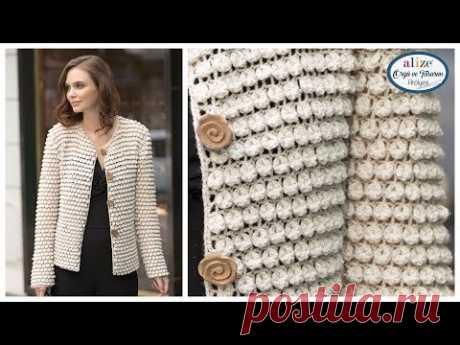Tığ İşi Böğürtlen Örnekli Hırka - Crochet Work Blackberry Pattern Cardigan