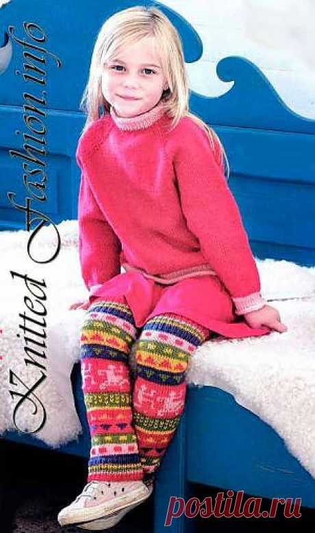 Children's gaiters with a jacquard pattern - KnittedFashion.info